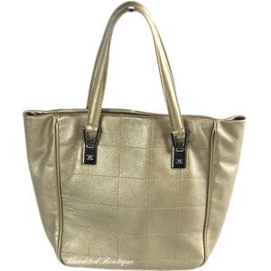 CHANEL Vintage Square Stitch Gold Leather Tote Bag